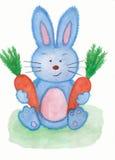 Кролик с картиной акварели 2 морковей Стоковое фото RF