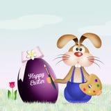 Кролик украшает пасхальное яйцо иллюстрация вектора