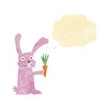 кролик шаржа с морковью с пузырем мысли Стоковые Изображения RF