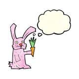кролик шаржа с морковью с пузырем мысли Стоковые Фотографии RF