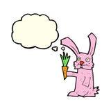 кролик шаржа с морковью с пузырем мысли Стоковые Изображения