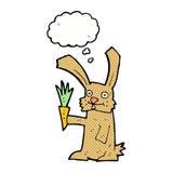 кролик шаржа с морковью с пузырем мысли Стоковое Изображение RF