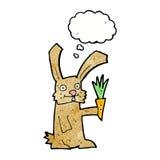 кролик шаржа с морковью с пузырем мысли Стоковое Фото