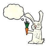кролик шаржа с морковью с пузырем мысли Стоковое Изображение