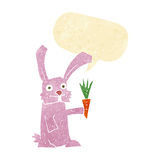 кролик шаржа с морковью с пузырем речи Стоковое фото RF
