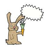 кролик шаржа с морковью с пузырем речи Стоковое Фото
