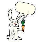 кролик шаржа с морковью с пузырем речи Стоковые Изображения RF