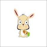 кролик шаржа с морковью Стоковое Изображение