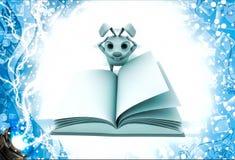 кролик 3d в strees пока читающ книжную иллюстрацию Стоковые Фото