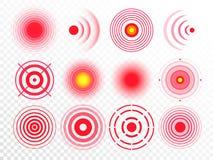 Круги боли Красное тягостное пятно цели, целящся круг выхода лекарства и набор вектора совместной боли изолированный пятнами иллюстрация вектора