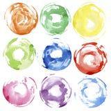 круги вручают покрашенную акварель Стоковые Фото