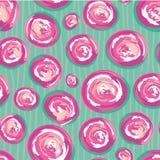 Круги пинка современной руки вычерченные и белых покрашенные swirly Картина вектора безшовная на subtly doodle doodle striped иллюстрация вектора