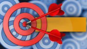 круги цели 3d с 2 дротиками Стоковые Изображения