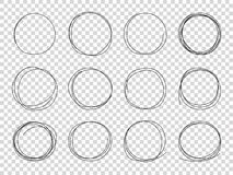 Круги эскиза Рамки руки вычерченные объезжанные Круговой вектор хода карандаша черноты doodle scribble изолировал иллюстрация штока