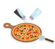 Круглая итальянская горячая пицца с морепродукты-креветками на деревянной доске иллюстрация вектора