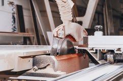 Круглая пила в магазине плотничества Машина для резать древесину, плиты мебели Производственная мощность Занятость, поиск работы стоковые фотографии rf