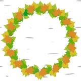 рамка зеленых и желтых листьев иллюстрация штока