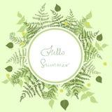 Круглая рамка папоротника с летом слов здравствуйте o иллюстрация вектора