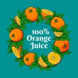 Круглая рамка сделанная из апельсинов и листьев Стоковые Изображения RF