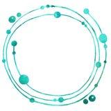 Круглая рамка сделанная простых элементов Чертеж акварели на белой предпосылке, для дизайна приглашений, карты иллюстрация штока