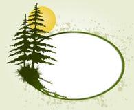 Круглая рамка шерст-дерева. Карточка вектора Стоковые Изображения