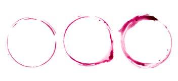 Круглая трассировка на таблице от бокала вина Стоковые Изображения
