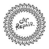 Круглая эмблема с гаечным ключом и надписью - ремонтом автомобиля также вектор иллюстрации притяжки corel Стоковое фото RF