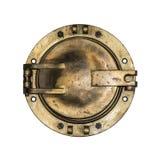 Круглое золотое окно иллюминатора шлюпки изолированное на белизне Стоковая Фотография
