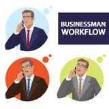 Круглые значки установили при бизнесмены говоря на телефоне иллюстрация штока