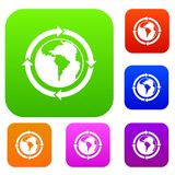 Круглые стрелки вокруг собрания цвета планеты мира установленного Стоковая Фотография RF