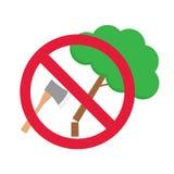 Круглый знак запрета отсутствие обезлесения иллюстрация штока