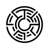 круглый значок лабиринта Плоский дизайн Вектор запаса Разделенный лабиринт бесплатная иллюстрация