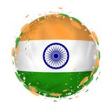 Круглый флаг grunge Индии с брызгает в цвете флага бесплатная иллюстрация