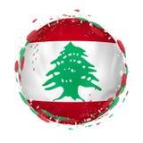 Круглый флаг grunge Ливана с брызгает в цвете флага бесплатная иллюстрация