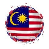 Круглый флаг grunge Малайзии с брызгает в цвете флага иллюстрация штока