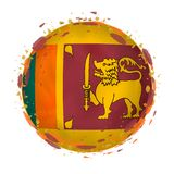 Круглый флаг grunge Шри-Ланка с брызгает в цвете флага иллюстрация штока