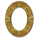 Круглый цвет золота рамки с тенью Стоковое Изображение