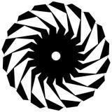 Круговая геометрическая форма Абстрактный monochrome спиральный элемент Стоковое Фото