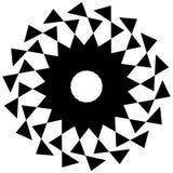 Круговая геометрическая форма Абстрактный monochrome спиральный элемент Стоковые Изображения RF