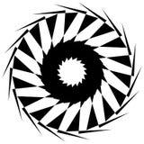 Круговая геометрическая форма Абстрактный monochrome спиральный элемент Стоковое Изображение