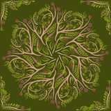 Круговая картина мандала Орнамент вектора круглого elvin флористический Зеленый Стоковые Изображения RF