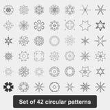 Круговая картина Снежинки, звезды, мандала Комплект 42 элементов Стоковые Изображения