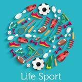 Круговая концепция стикера спортивного инвентаря Стоковые Изображения RF