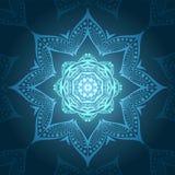 Круговая предпосылка в тенях изумруда Предпосылка циркуляра цветка Индийский флористический орнамент Красивое этническое происхож Стоковое Фото