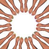 Круговая рамка покрашенных toenails Стоковая Фотография