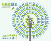 Круговая электрическая станция солнечной энергии с башней и heliostats, осматривает сверху Стоковые Изображения