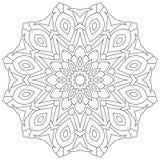 Круговой геометрический орнамент Круглая мандала плана для страницы книжка-раскраски иллюстрация штока