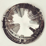 Круговой городской пейзаж в снеге Стоковые Фотографии RF