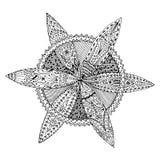 Круговой круглой цветистой doodle zentangle мандалы нарисованный рукой Страница для взрослых, анти- стресс расцветки, деятельност Стоковые Изображения