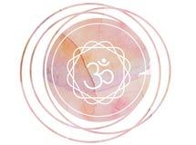 Круговой лотос символа Om Aum мандалы акварели стоковое фото rf
